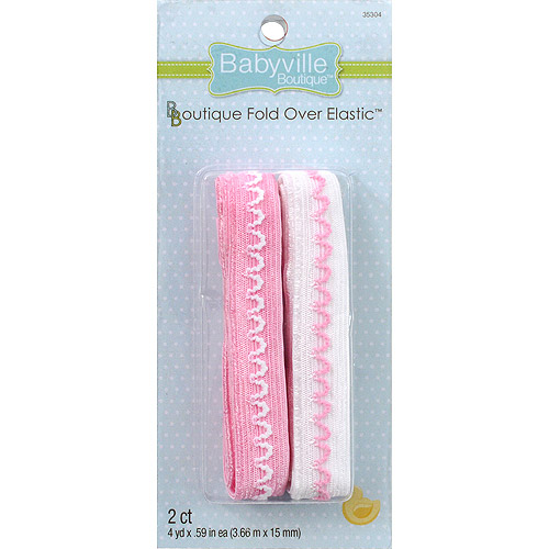 Brown with Dots and Solid Pink Dritz Babyville Boutique Fold Over Elastic