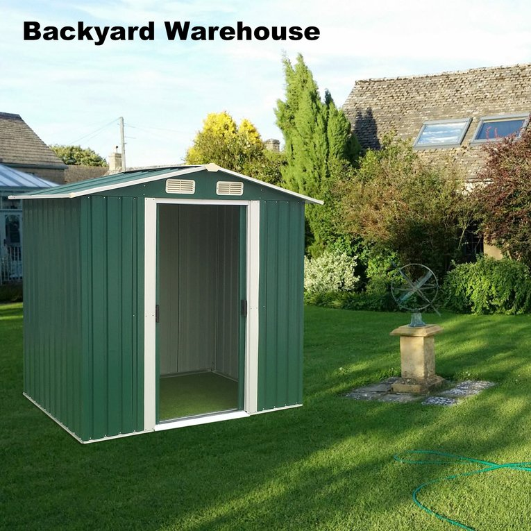Garden Storage Shed 6ftx4ft Outdoor Patio Tool Room Backyard Warehouse  Outdoor Garden Storage Shed Tools Shelter