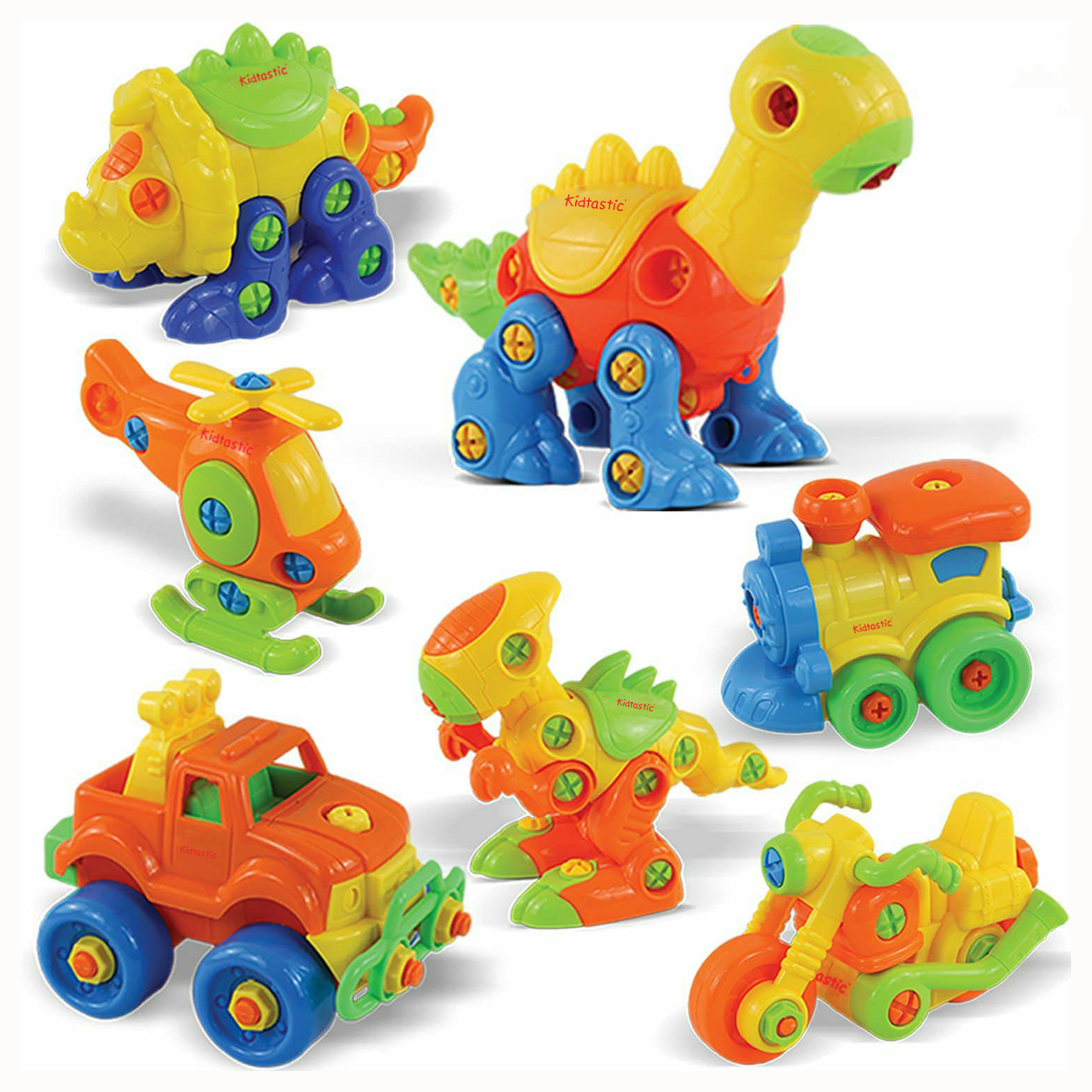 Kidtastic  Set of 7 Take Apart Toys - Dinosaurs, Helicopter, Train, Truck, Motorcycle