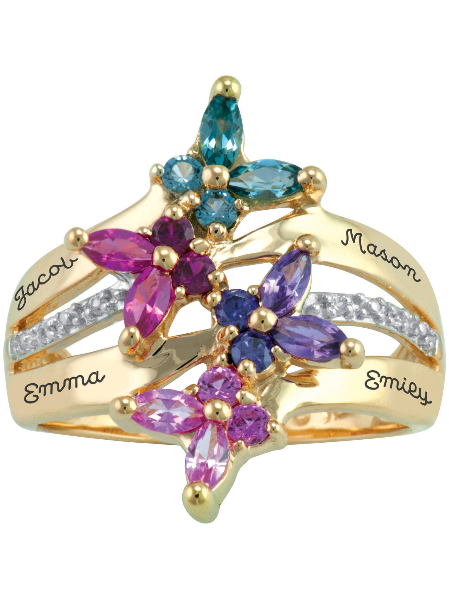 Keepsake Personalized Family Jewelry Meadow Birthstone Mother's Ring available in Sterling Silver, 10kt Gold over Sterling Silver, 10kt or 14kt Yellow or White Gold