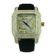 Mens Iced Out Luxury Rhinestone Analog Rectangular Wrist Watch Gold