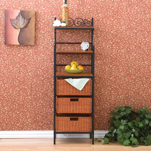 Wildon Home  Ceylon Scrolled Storage Baker's Rack in Black w/ Brown