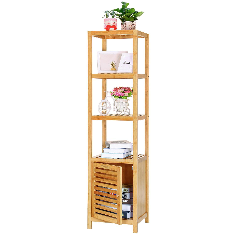 Ollieroo 5 Tier Multi Functional Bamboo Bathroom Storage Rack Shelving