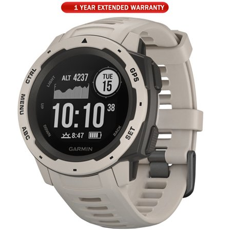 Garmin Instinct Rugged Outdoor Watch with GPS and Heart Rate Monitoring, Tundra (010-02064-01) + 1 Year Extended