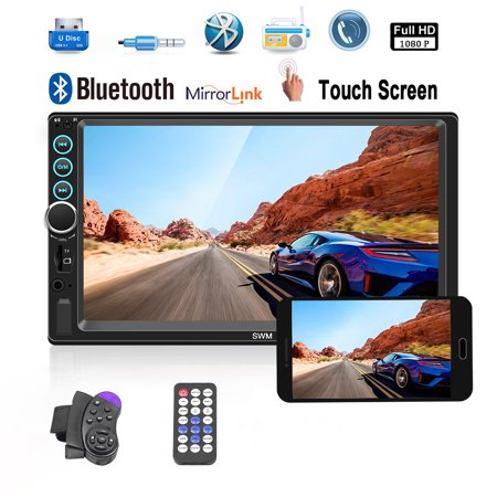 2018 New Updated 7 Inch Car Stereo Radio Bluetooth Double Din Touch Screen MP5 Player With Mirroror Link Function, not included the backup camera (Both Support Android And IOS (Best Double Din Stereo For Android)