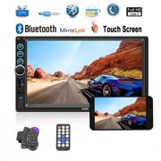 2018 New Updated 7 Inch Car Stereo Radio Bluetooth Double Din Touch Screen MP5 Player With Mirroror Link Function, not included the backup camera (Both Support Android And IOS Phone)