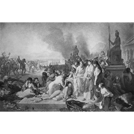 Greece Fall Of Corinth Nthe Fall Of Corinth Greece To The Romans In 146 BC Photogravure Late 19Th Century After The Painting The Last Day Of Corinth 1870 By Tony Robert-Fleury Rolled Canvas Art -