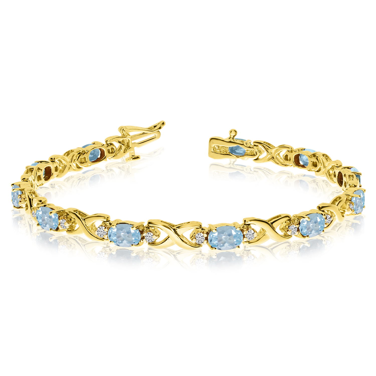 14k Yellow Gold Natural Aquamarine And Diamond Tennis Bracelet by LCD