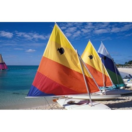 Sailboats On The Beach At Princess Cays Bahamas Poster Print By Jerry   Marcy Monkman