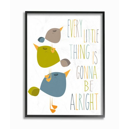 Act Green (The Kids Room by Stupell Three Little Birds Print Green Tan and Blue Oversized Framed Giclee Texturized Art, 16 x 1.5 x)