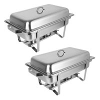 Zimtown 2Pcs 8 Quart Rectangular Chafing Dish of  Stainless Steel Full Size Tray Buffet Catering