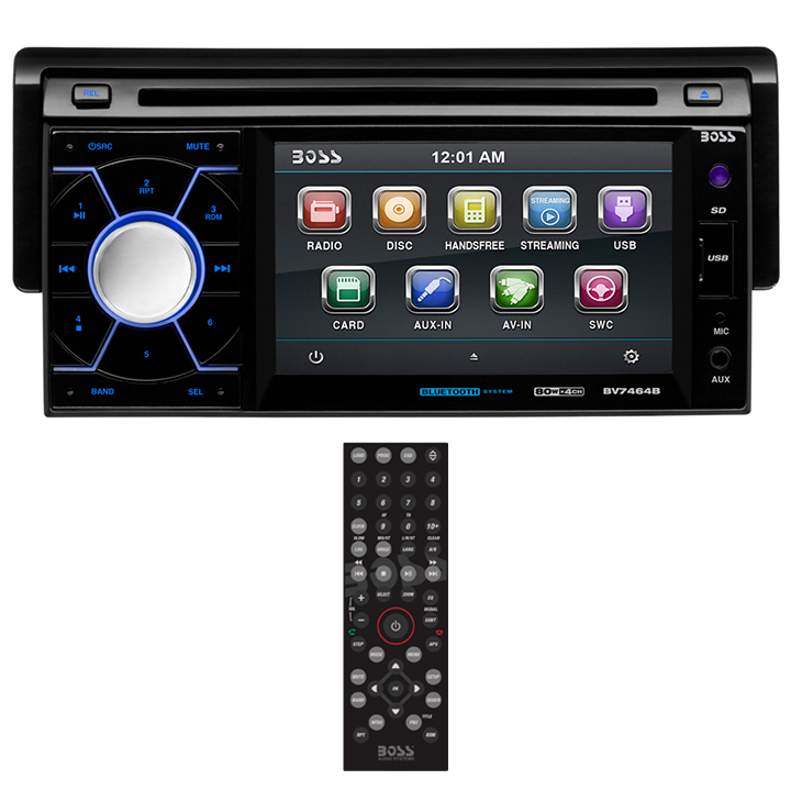 BOSS Audio BV7464B Single-DIN In-Dash Drop-Down Receiver
