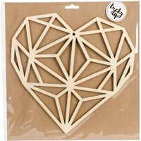 "Lucky Dip Wood Flourish-Geo Heart 9.75""X9.75"""