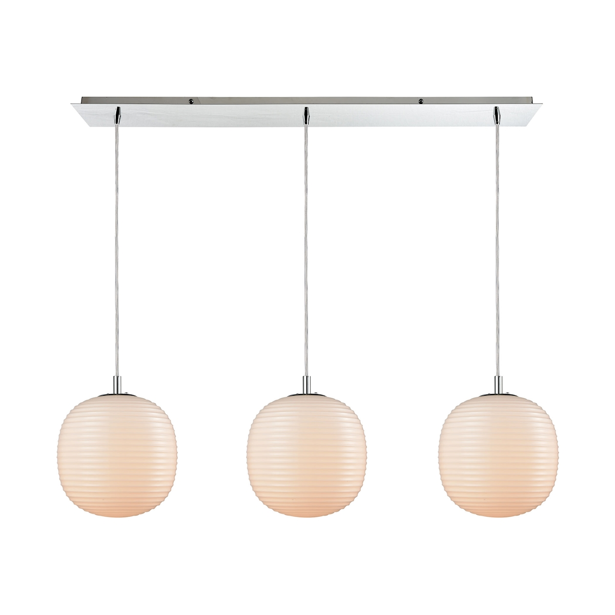 Beehive 3-Light Linear Pendant Fixture In Polished Chrome