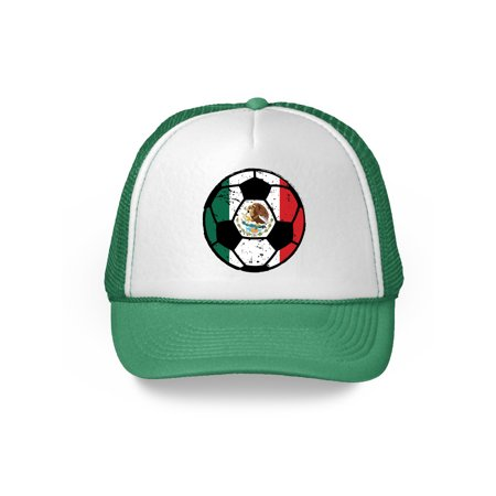 Awkward Styles Mexico Soccer Ball Hat Mexican Soccer Trucker Hat Mexico 2018 Baseball Cap Mexico Trucker Hats for Men and Women Hat Gifts from Mexico Mexican Baseball Hats Mexican Flag Trucker Hat - Soccer Cap