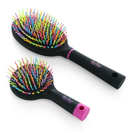 OneDor Rainbow S-Curve Ball tipped Bristles Air Volume Hair Brush with Flexible Cushion Base - Balls With Hair