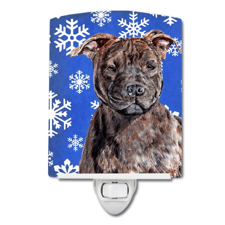 Staffordshire Bull Terrier Staffie Winter Snowflakes Ceramic Night Light