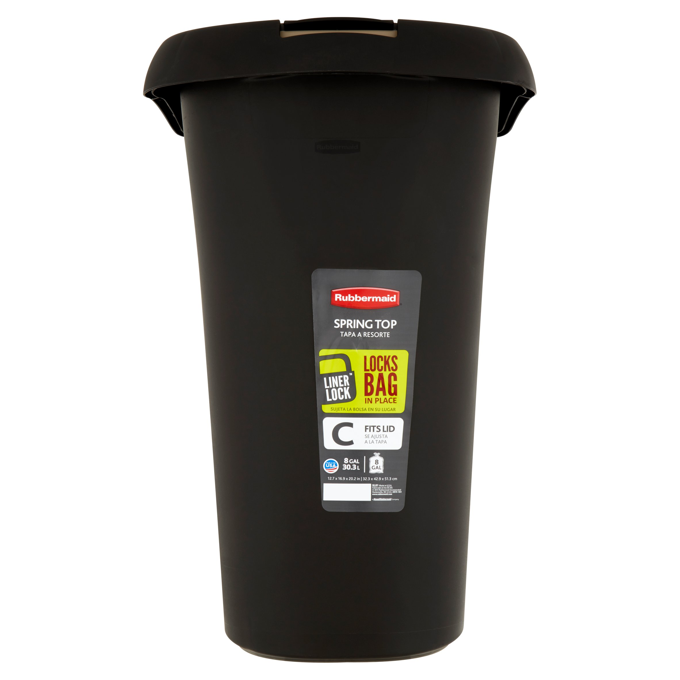 rubbermaid liner lock fits lid spring top 8 gal trash can