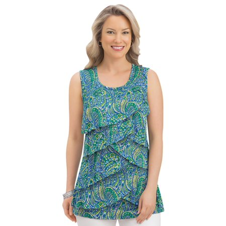 Women's Tiered Print Ruffle Front Sleeveless Wide Strap Scoop Neck Tank Top, Medium, Blue