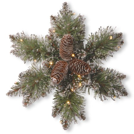 Pre-Lit Pine Snowflake Battery Operated Artificial Wreath - 14-Inch, Warm White LED Lights