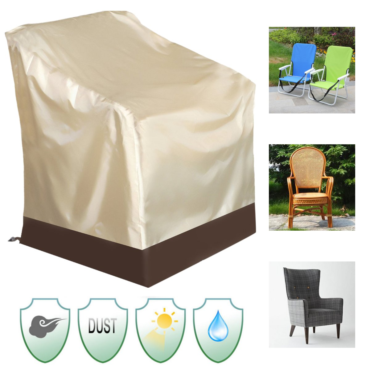 Meigar High Back Chair Covers Outdoor Yard Furniture Protection Accessories Veranda Patio Rocking Chair Cover - Durable and Water Resistant Patio Set Cover