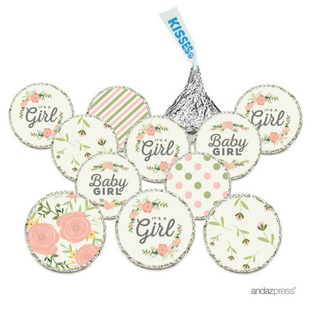 Chocolate Drop Labels, Fits Hershey's Kisses, Ultimate Girl Baby Shower Collection, Floral Roses, 216-Pack (Girl Baby Shower Tableware)