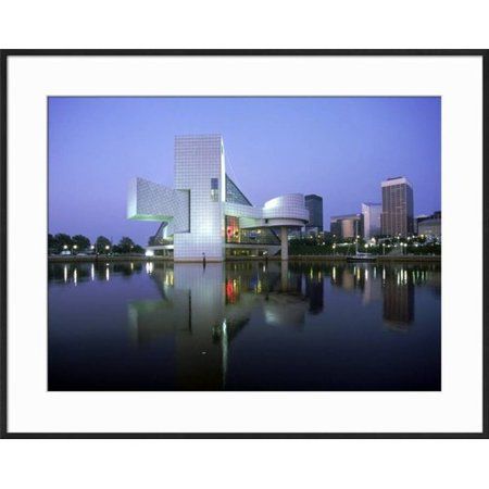 Art Com Rock And Roll Hall Of Fame In Cleveland At Dusk Framed Photographic Print
