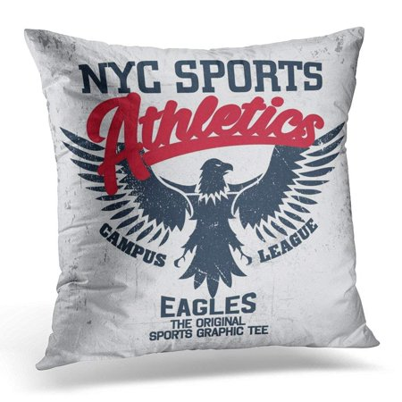 ARHOME College New York Vintage Denim Apparel Eagle Old School Graphic for and Retro Artwork and Varsity Pillow Case Pillow Cover 20x20 inch