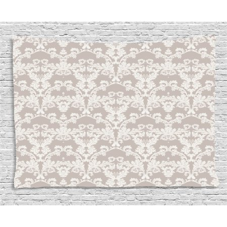 Taupe Tapestry  Nature Garden Themed Pattern With Damask Imperial Tile Rococo Inspired Stylized  Wall Hanging For Bedroom Living Room Dorm Decor  60W X 40L Inches  Taupe And White  By Ambesonne