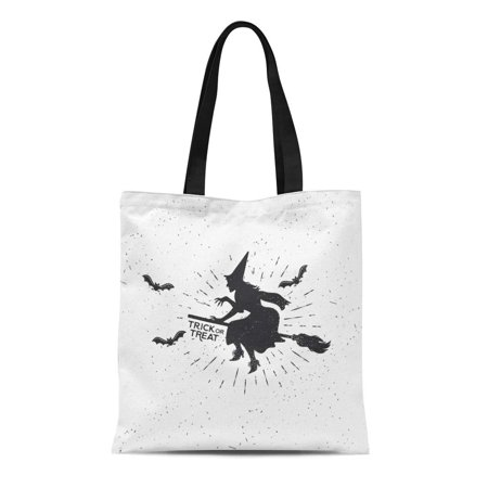 SIDONKU Canvas Tote Bag Autumn Witch Vintage Halloween Badge Bat Black Broom Drawing Reusable Shoulder Grocery Shopping Bags Handbag