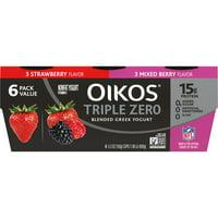 Oikos Triple Zero Variety Pack Greek Yogurt, 5.3 Oz. Cups, 6 Count