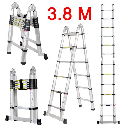 12.5ft Aluminum Telescopic Extension Ladder, Portable Heavy Duty Multi-Purpose Telescoping Ladder with Hinges,330 Lb Capacity (Platform Telescoping Ladder)