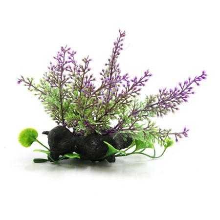 Purple Plastic Fish Tank Terrarium Plants Ornament for Reptiles w Ceramic Base (Plastic Reptiles)