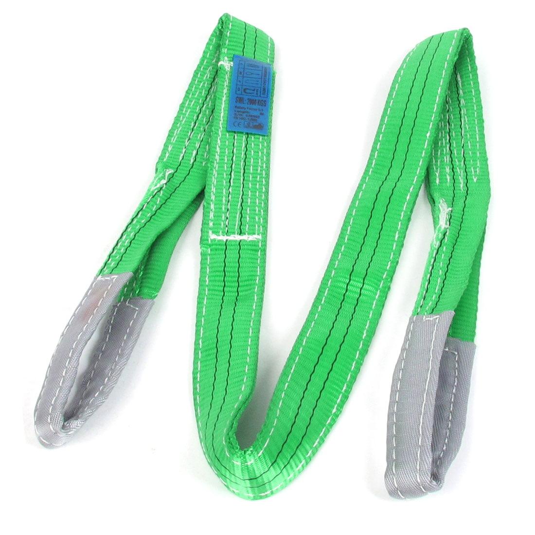 2M 6.6Ft 2 Ton Capacity Straight Eye to Eye Hoist Web Strap Green Gray