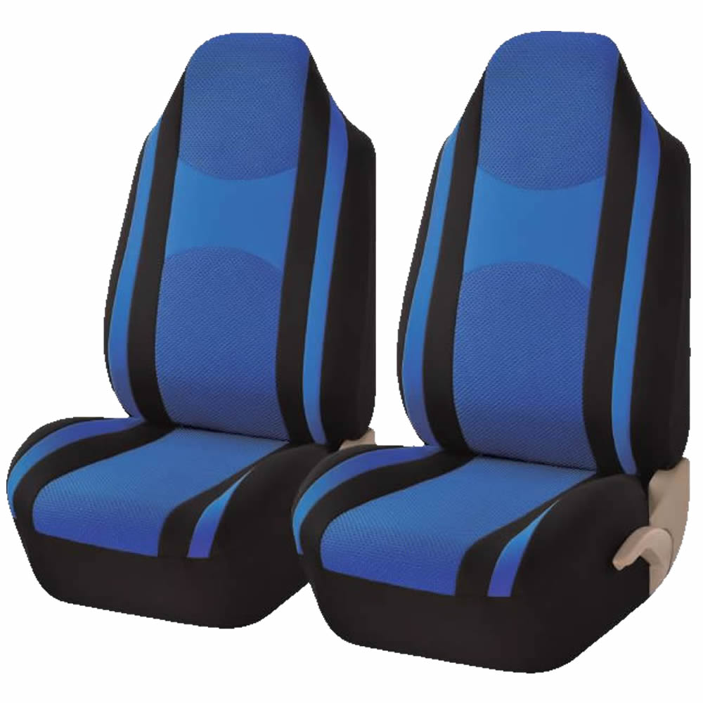 2 Piece Blue & Black Mesh Honeycomb High back Double Stitched Front Seat cover Universal Car Truck SUV