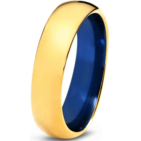 - Tungsten Wedding Band Ring 6mm for Men Women Blue 18k Yellow Gold Plated Domed Polished Lifetime Guarantee