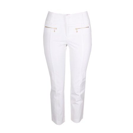 - Inc International Concepts White Curvy-Fit Cropped Zip-Pocket Pants 10