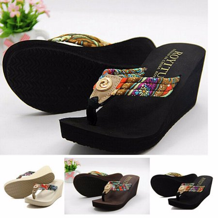 Summer Flip Flop Sandals - Summer Women Wedge Flip Flops Thong Ladies Platform Sandals Beach Slippers