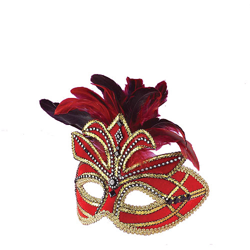 Red Venetian Mask with Feathers