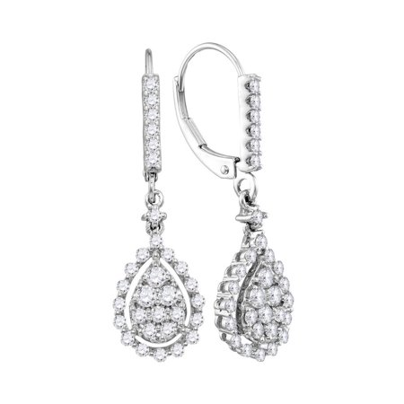 14kt White Gold Womens Round Diamond Teardrop Frame Cluster Dangle Earrings 7/8 Cttw