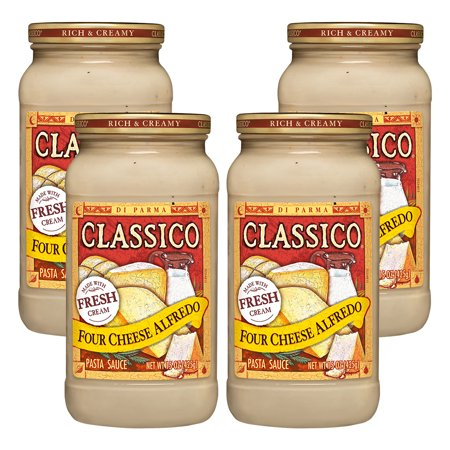 (4 Pack) Classico Four Cheese Alfredo Pasta Sauce, 15 oz