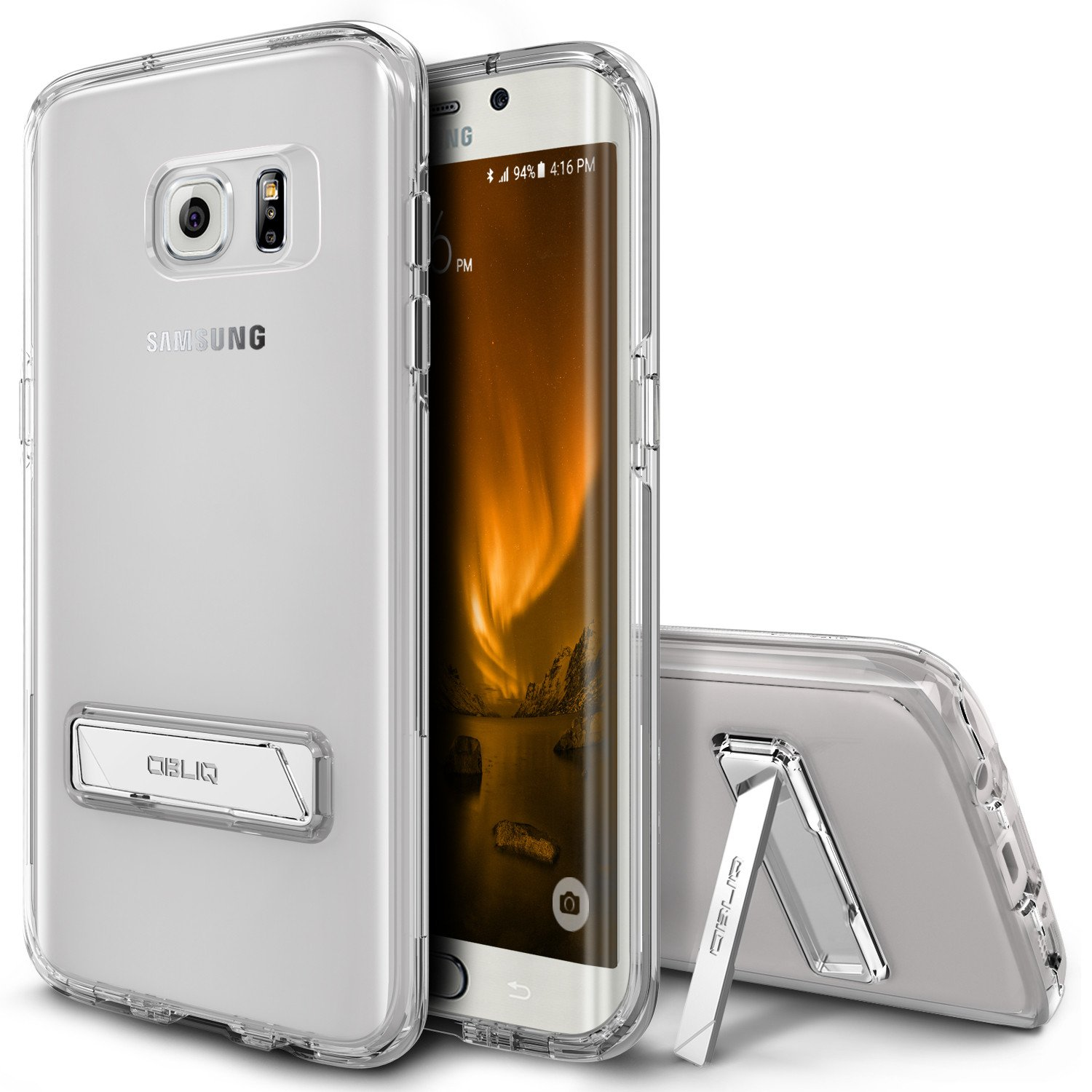 OBLIQ, Galaxy S7 Edge Case [Naked Shield][Clear] Metal Kickstand Slim Crystal Clear Back Anti Scratch Protective Cover for Samsung Galaxy S7 Edge