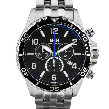 Brandt & Hoffman Men's Pythagoras dive chronograph, Swiss Made Ronda movement, Sapphjire crystal, Superluminova, multi-link bracelet