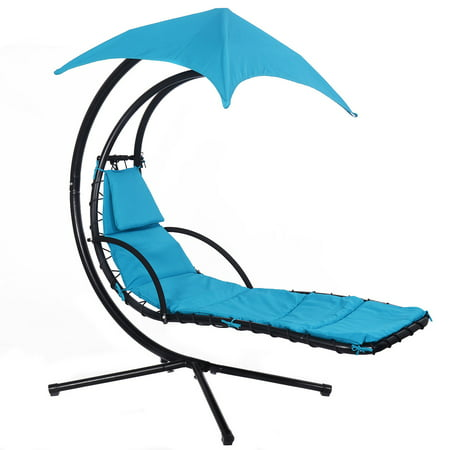 Surprising Goplus Hanging Chaise Lounge Chair Arc Stand Air Porch Swing Hammock Canopy Blue Frankydiablos Diy Chair Ideas Frankydiabloscom