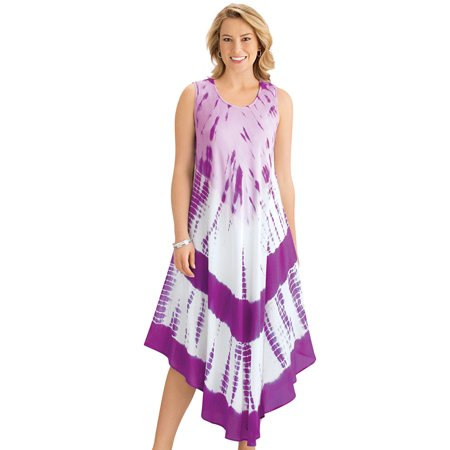 Women's Vibrant Tie Dye Easy-To-Wear  Sleeveless Dress with Scoop Neckline - Cute Summer Outfit for Any Occasion, Medium/Large, Purple](Easy Hippie Outfit)