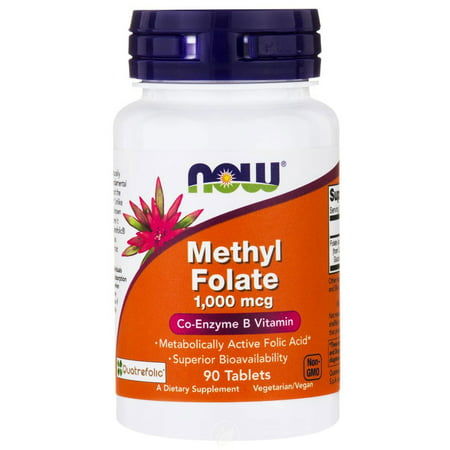 Block 90 Tabs - Now Foods METHYL FOLATE 1,000 mcg 90 TABS, Pack of 2