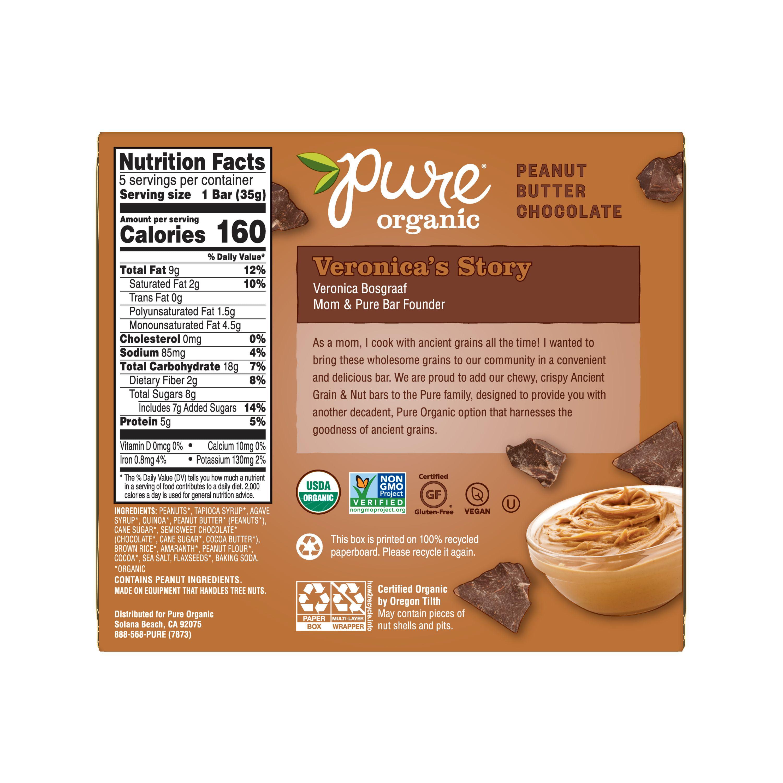 Pure Organic Peanut Butter Chocolate Ancient Grain & Nut Crispy Bar 6 15 oz  5 Ct