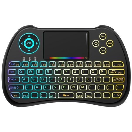 (Upgraded Version) Aerb 2.4GHz Colorful Backlit Mini Wireless Keyboard with Mouse Touchpad Rechargeable Combos for PC, Pad, Google Android TV Box and