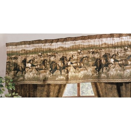 Unisex Wild Horses Valance Brown One Size, Accent Your Bedroom Window With Our Wild Horses Valance. By Karin -