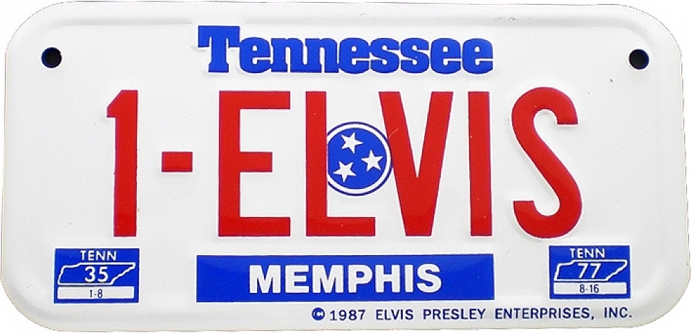 Elvis Presley #1 Memphis Tennessee Tag Metal License Plate [White ...